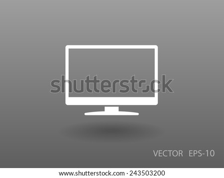 Flat icon of monitor - stock vector