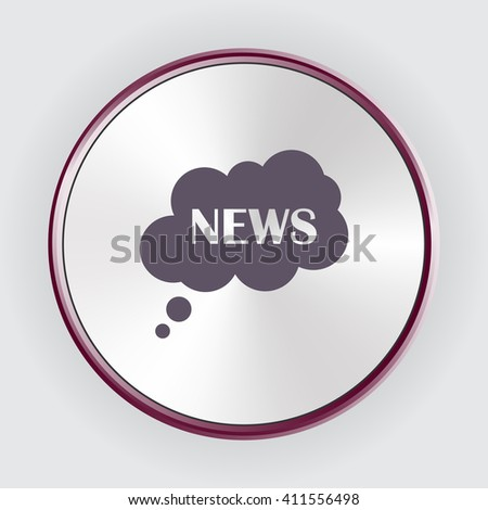 Flat icon of news cloud, vector illustration. Flat design style - stock vector