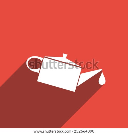 Flat Icon of oiler with lubricating oil - stock vector