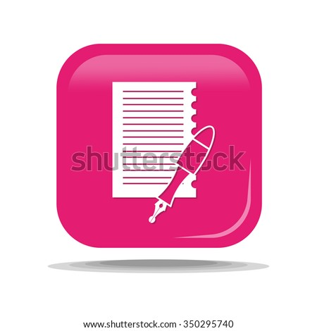 Flat Icon of paper with a fountain pen. Isolated on pink background. Modern vector illustration for web and mobile. - stock vector