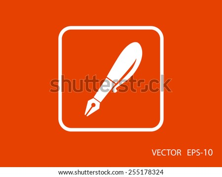 Flat  icon of pen - stock vector