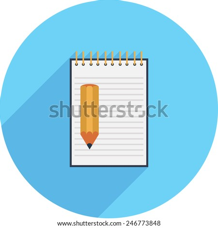 Flat Icon of pencil on notebook background