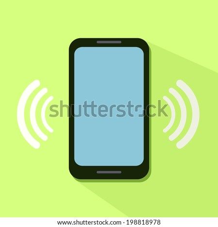Flat Icon of Ringing Phone - stock vector