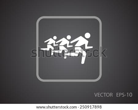 Flat icon of running men - stock vector