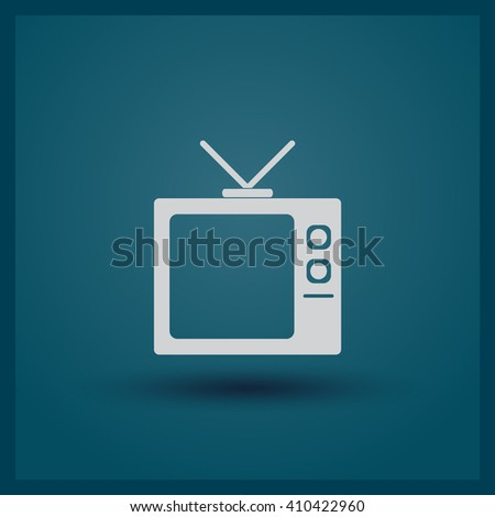 Flat icon of TV set - stock vector