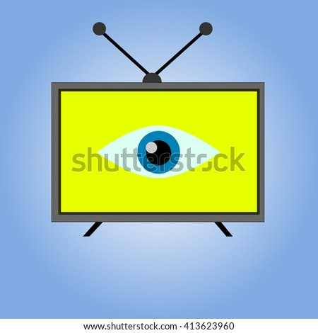 Flat icon of tv with eye inside. - stock vector