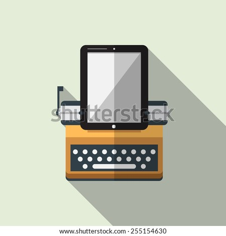 Flat icon of typewriter combine tablet with long shadow. Vector. Illustration - stock vector