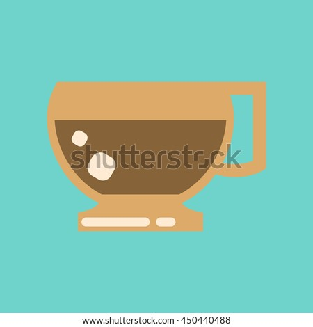 flat icon on background coffee cup flavor - stock vector