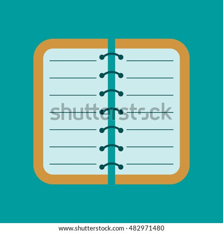 flat icon on background spiral notepad notebook