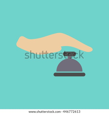 flat icon on stylish background hand bell