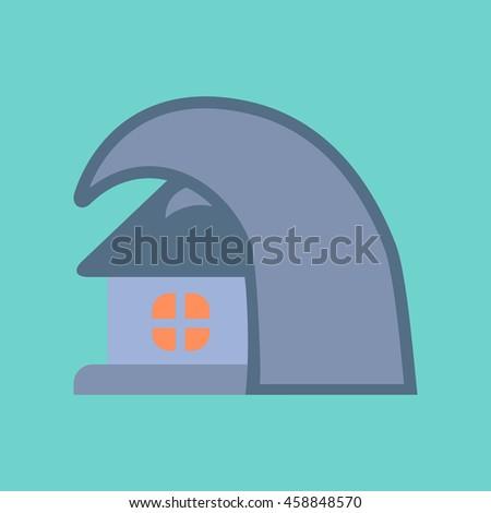 flat icon on stylish background tsunami house - stock vector
