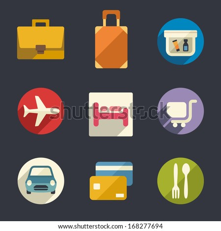 Flat icon set. Airport and airlines services.