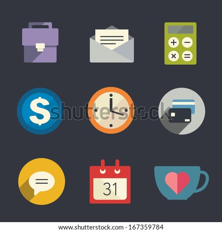 Flat icon set. Business. - stock vector