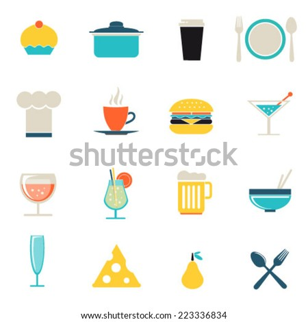 Flat icon set, Food, drink and cooking tools and kitchenware equipment, serve meals and food preparation elements. Modern design style vector illustration symbol collection.