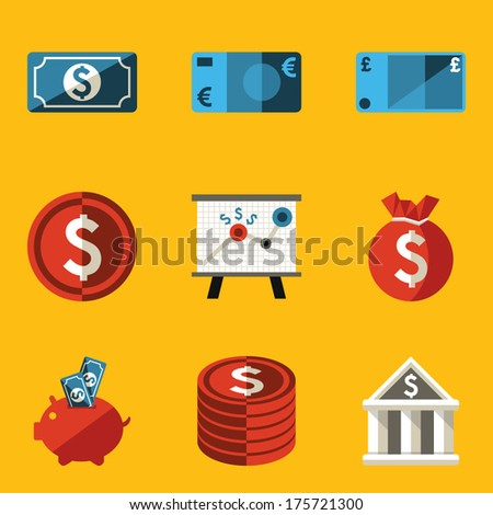 Flat icon set. Money - stock vector