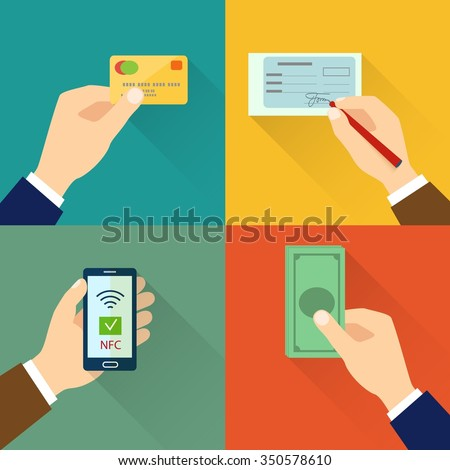 Flat icon set of payment types. Hands holding credit cards, cash, smartphone, writing check. vector illustration - stock vector
