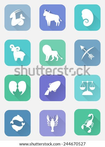 Flat icon set with zodiac signs