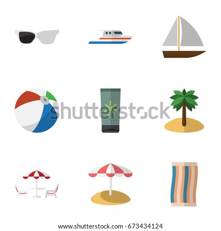 Flat Icon Summer Set Of Yacht, Boat, Spectacles And Other Vector Objects. Also Includes Sunglasses, Island, Spectacles Elements.