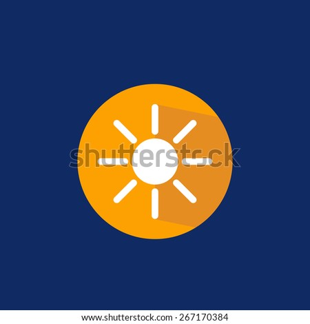 Flat icon sun on blue background made with vintage colors - stock vector