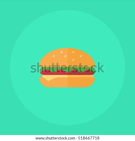 flat icon Tasty hamburger with meat and cheese