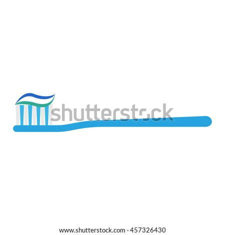 Flat icon toothbrush with toothpaste. Vector illustration. - stock vector