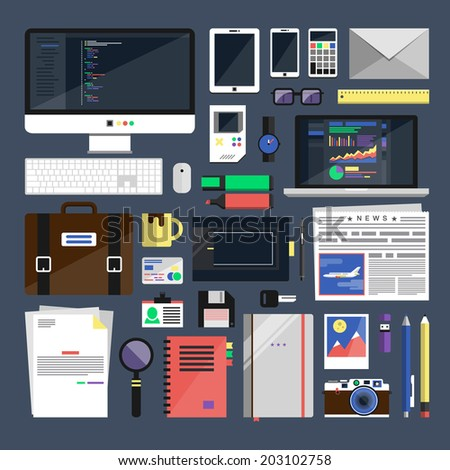 Flat icon vector collection concept of business work flow items and essentials, office things and equipment, finance and marketing objects, development tools. Elements for mobile and web applications - stock vector