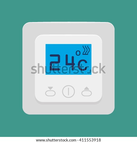flat icon vector electronic thermostat for floor heating on a blue background. Icon of a warm floor. illustration - stock vector