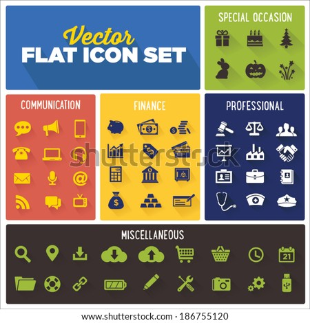 Flat Icon Vector Set | Professional, Communication, Finance, Holiday, Miscellaneous Icon Sets | Law, Medical, Business - stock vector