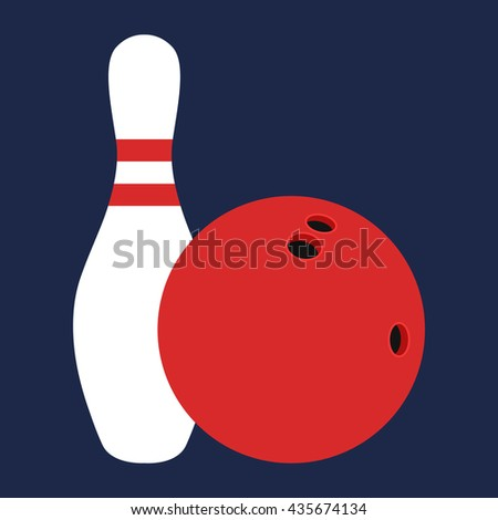 Flat icon white skittle and bowling ball. Vector illustration. - stock vector
