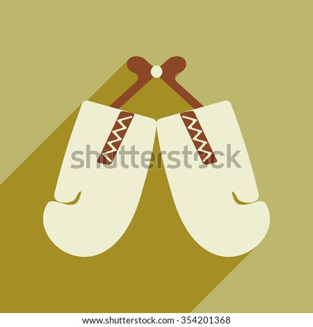 Flat icon with long shadow boxing gloves  - stock vector