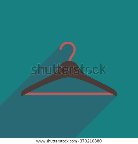 Flat icon with long shadow Clothes hanger - stock vector