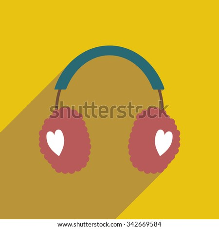 flat icon with long shadow earmuffs hearts  - stock vector