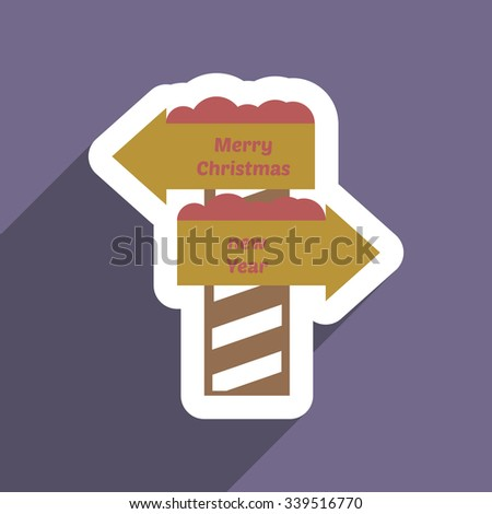 flat icon with long shadow Pointer Christmas and New Year - stock vector