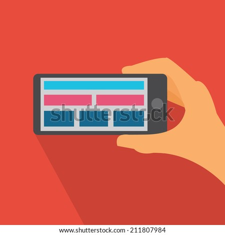 Flat icon with responsive mobile design / Flat mobile responsive icon - stock vector