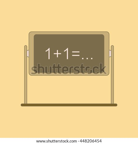flat icon with thin lines blackboard - stock vector