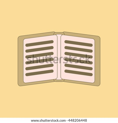 flat icon with thin lines notebook - stock vector