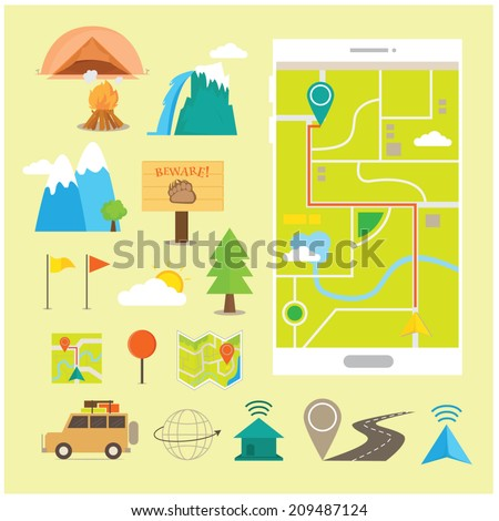 Flat Icons and Illustration of Travel and Navigation GPS - stock vector