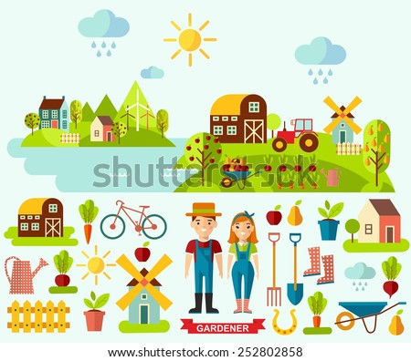 Flat icons and panoramic rural landscape with gardening concept. Garden set icons and landscape with a garden, various plants, trees, mill, barn,tractor in flat style  - stock vector