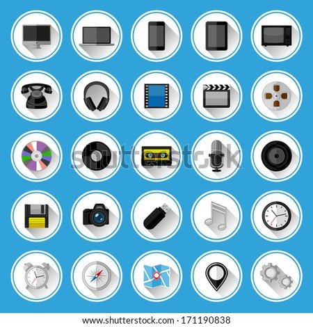 Flat icons and pictograms set. Vector illustration.  - stock vector