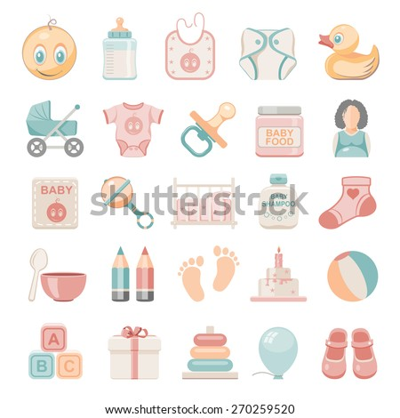 Flat Icons - Baby - stock vector
