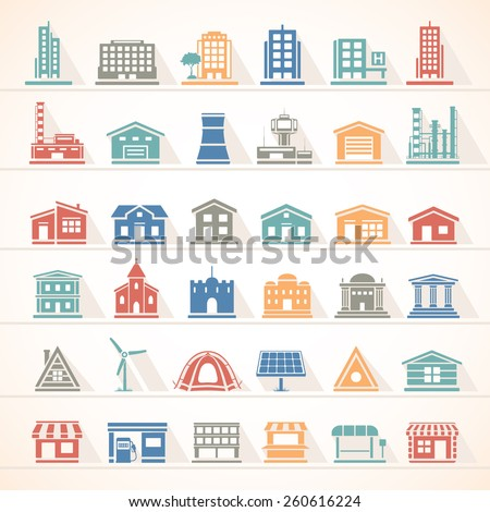 Flat Icons - Buildings - stock vector