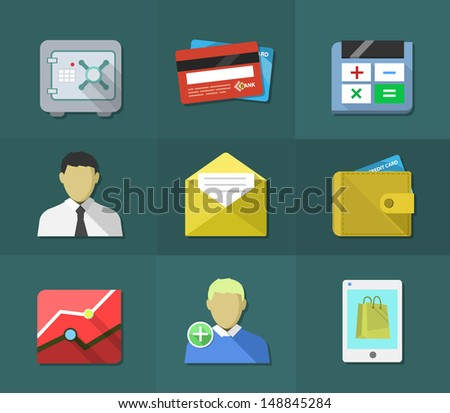 Flat icons, business and money,vector illustration, - stock vector