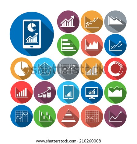 Flat icons business graph  vector collection with long shadow. - stock vector