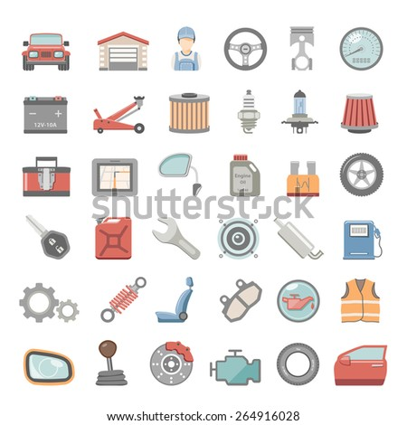 Flat Icons - Car Maintenance - stock vector