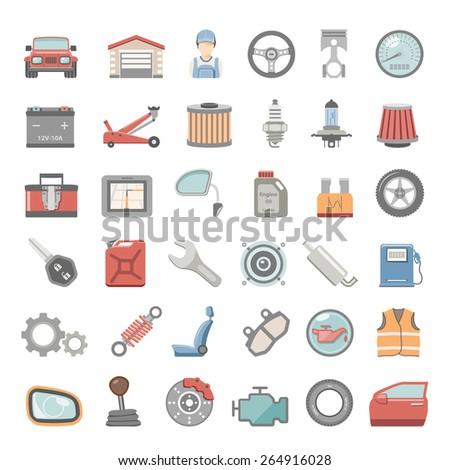 Flat Icons - Car Maintenance - stock vector