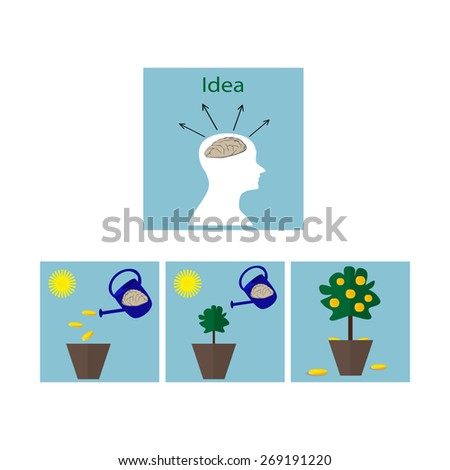 Flat icons - Clever idea multiplies money - stock vector