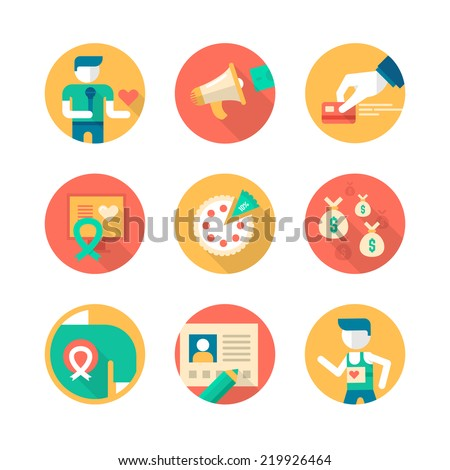 Flat icons collection of charity in business, giving help to non-profit, donating and fund raising. Part 2 - stock vector