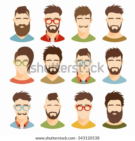 Flat icons collection of various men with stylish haircuts and beards. Modern design vector illustration set in retro color. Isolated on white background. - stock vector