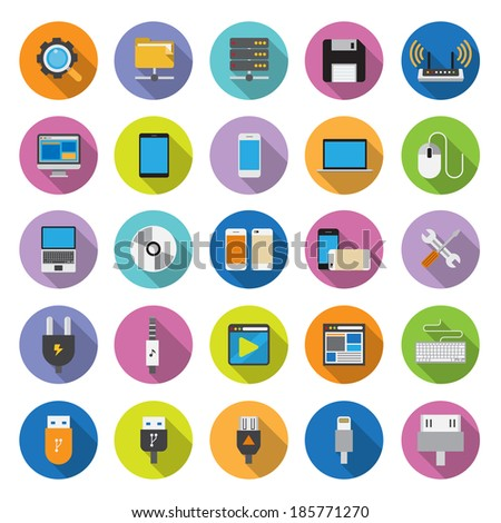 flat icons collection with long shadow . Set 6. Computer & network - stock vector