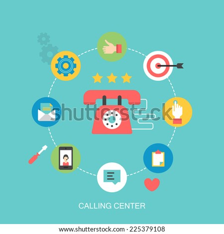 Flat icons design for calling center and customer support concept - stock vector